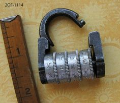 Rare Unique & Genuine Antique Victorian Old Combination Padlock From France