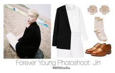 """""""Forever Young Photoshoot: Jin"""" by btsoutfits ❤ liked on Polyvore featuring Toast, Hallhuber, MANGO, Hue, Grenson and River Island"""