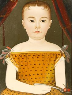 Child Holding a Spoon of Cherries, Prior/Hamblen School portrait, circa 1840, 9.5 x 13 inches, oil on artist board, Joan R. Brownstein - American Folk Paintings