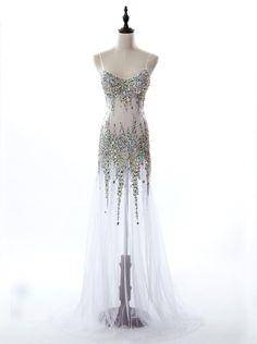 Mermaid Spaghettis Straps Sweep Train Tulle White Prom Dress With Beading - Dresstells.com