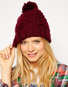 ASOS Beanie With Cable Pom