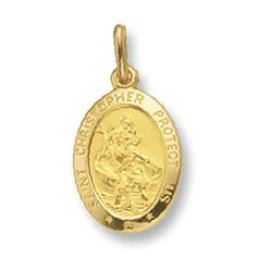 Mens 9ct Gold Oval St Christopher Pendant On A 20 Inch Curb Necklace  Price…