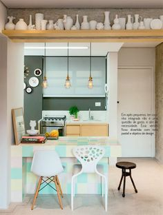 Small kitchen for u'r minimalis home Apartment Interior, Kitchen Interior, Interior Design Living Room, Kitchen Decor, Kitchen Design, Cocina Art Deco, Sweet Home, Diy Casa, Open Concept Kitchen