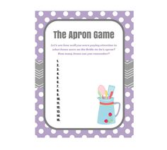 Purple Apron Game Bridal Shower Printable Bridal by TheLastCandy.  The old memory game: have the bride wear an apron with items pinned on or placed in pockets - show the guests, then leave the room and have everyone list what was in and on the apron.
