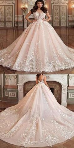 b89a617700bb Excellent A-Line Scoop-Neck Cathedral Train Tulle Appliqued Romantic Wedding  Dresses,VPWD169