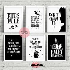 Peter Pan nursery, disney nursery decor, neverland nursery, disney quotes, peter pan quotes, peter pan print, neverland printable, set of 6