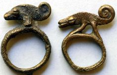 West Africa  ~  Lobi bronze rings, Burkina Faso   Date: Late 1800s - early 1900s