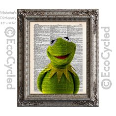 Kermit the Frog on Vintage Upcycled Dictionary Art Print Book Art Print Recycled Repurposed It's Not Easy Being Green by EcoCycled on Etsy https://www.etsy.com/listing/211496040/kermit-the-frog-on-vintage-upcycled