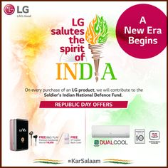 #LG introduces easy finance options as it celebrates the spirit of the new cashless India this #RepublicDay. Now buy LG Air Conditioners and LG Smartphones to avail exciting offers. Visit www.karsalaam.in to send wishes to our brave soldiers. #KarSalaam