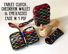 Wallet Pattern, Zip Around Checkbook size and Tablet Clutch size Instant Download Sewing Pattern