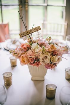 #Scrabble #Centerpiece #TableNumbers | See the wedding on SMP: http://www.StyleMePretty.com/new-england-weddings/2014/02/12/lord-thompson-manor-wedding/ Katie Slater Photography