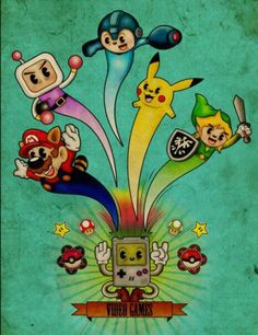 Omg! Four of my favorite games! Mario, Pokémon, Bomberman, and The Legend of Zelda!