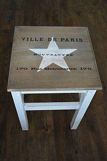 Nábytok - Drevený vintage stolík s hviezdou - 5096167_