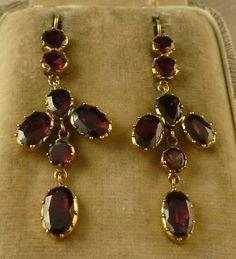 Fabulous 18ct Gold Garnet Long Drop Earrings Set with 6 60ct of Garnet | eBay