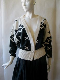 1980's black and cream vintage Italian by afterglowvintage on Etsy, $46.00