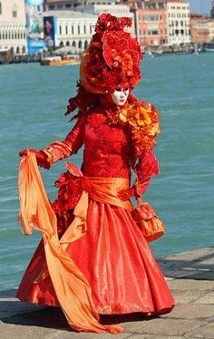 Lady inn red at Carnival of Venice .. photo by Frank Kovalchek