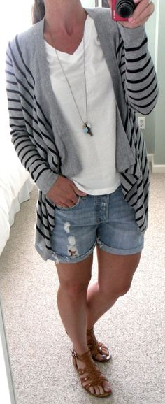aed013726e30c7 Old Navy gray and black stripe draped cardigan