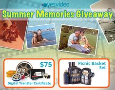 July is National Picnic Month - enter to #win our #giveaway that includes a $75 YesVideo gift card and a picnic basket set - total value $185!