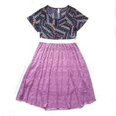 The LuLaRoe Lola skirt is a lace or chiffon (in this case fabulous lilac lace) midi skirt with a forgiving elastic waistband that makes for a jaw-dropping statement piece! Pair it with a LuLaRoe Classic Tee in coordinating colors and you have a comfortable and oustanding outfit in one! Click the pic to join my shopping group and learn more!