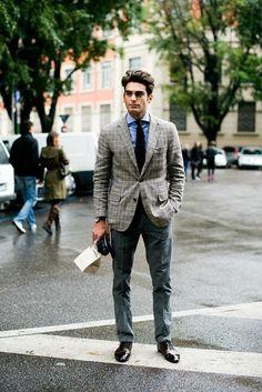 Check blazer/ safari style/ menswear/ slim chino/ smart casual#mensfashion