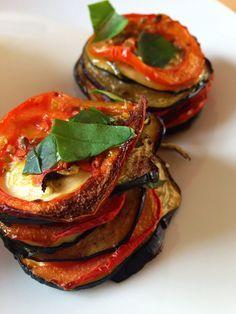 Vlees noch vis : Torentjes van aubergine, courgette en tomaat