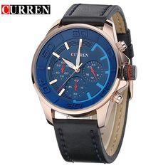 business men clock casual leather luxury wrist quartz army sport watch