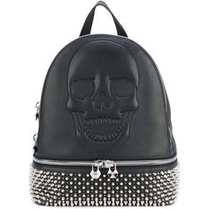 Philipp Plein Studded Skull Backpack ($3,040) ❤ liked on Polyvore featuring bags, backpacks, studded bag, studded leather backpack, logo backpack, shoulder strap backpack and spike backpack