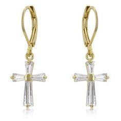 Cubic Zirconia Goldtone Cross Earrings