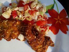 Rántott szelet brazil salátaval álákriszta Grains, Rice, Meat, Chicken, Food, Essen, Meals, Seeds, Yemek