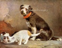 """Dog and Cat Art """"Unusual Guardian"""" 1920s Restored Antique Art - Restored Vintage Art - Protecting the Cats  #6"""