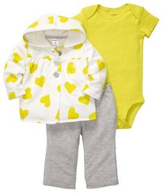 Carters Baby Heart Microfleece Cardigan Set