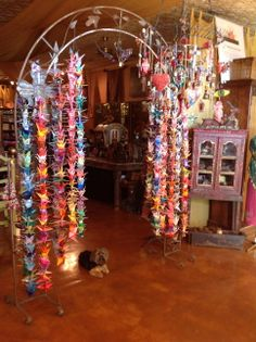 Paper cranes made by Paula Best for Pamela Armas/Treasures of the Gypsy showroom Paper Cranes, Showroom, Gypsy, House Ideas, Bohemian, Christmas Tree, Texture, Cool Stuff, Holiday Decor