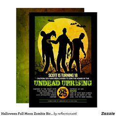 Halloween Full Moon Zombie Birthday Party Invitation Halloween Birthday Party Invitations, Zombie Birthday Parties, Adult Halloween Party, Halloween Party Costumes, Scary Halloween, Best Zombie, Halloween Design, Full Moon, Fun
