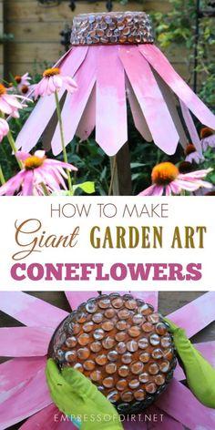 Create a giant, garden art coneflower (echinacea) for your backyard using repurposed kitchen pans.