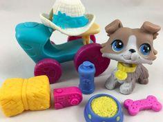 Littlest Pet Shop RARE Gray/White Collie #67 w/Hat, Tractor & Accessories-EUC!! #Hasbro