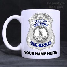 Virginia State Police Badge Personalized 11oz Coffee Mugs Made in the USA. #Handmade