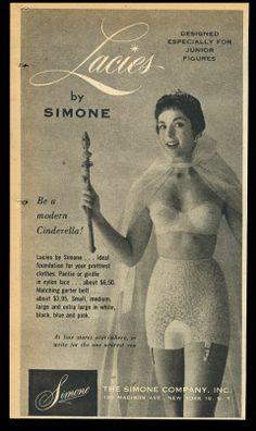 1956 Simone Lacies lingerie lace panty girdle bra woman photo vintage print Ad Vintage Girdle, Vintage Lingerie, Pin Up, 12 Year Old Boy, Pulp, Magazine Ads, Print Ads, Shapewear, Female Bodies