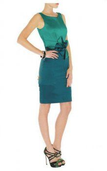 Discount Karen Millen Colourblocked Stretch Satin Dress Lake Green is on sale now.Free shipping to your door.