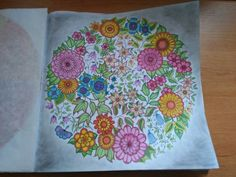 Finished: 12. 2. 2016; Source: Secret Garden by Johanna Basford; Medium: Maped Color'Peps, eye shadow; FB challenge no. 24 - flowers with blending at least two colours together