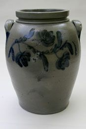 Stoneware storage jar crock with salt glaze...