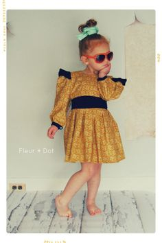 The Open Prairie Girls Dress with Ruffle and Puff SLeeves from Fleur + Dot Autumn Winter 12 Collection - Fleur and Dot