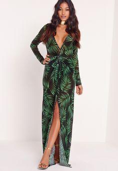 Missguided - Long Sleeve Wrap Mesh Maxi Dress Leaf Print