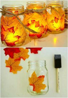 Hottest Totally Free 60 Fabulous Fall DIY Projects To Decorate And Beautify Your Home Strategies Autumn Leaf Mason Jar Candle Holders and 60 other Fall Crafts Easy Fall Crafts, Fall Crafts For Kids, Fall Diy, Thanksgiving Crafts, Crafts For Teens, Diy And Crafts, Pot Mason Diy, Fall Mason Jars, Mason Jar Crafts