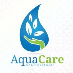 "The ""AquaCare"" Logo does so much with only two colors, blue and green."