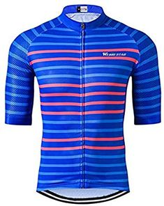 0027b2e5e Amazon.com   Weimostar Cycling Jersey Short Sleeve Men Summer Racing  Breathable MTB Bicycle Clothing Bike Wear Bicycle Sports Clothes Quick Dry  Blue Stripes ...