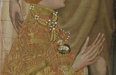 Details on Richard II's brocade houppelande, his jeweled collar and his personal emblem (the white hart) as a broach.