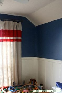 DIY Custom Window Treatments:: Painted and Stenciled Curtains- keeping room Boys Curtains, Stenciled Curtains, Curtains And Draperies, Ikea Curtains, Burlap Curtains, White Curtains, Angled Ceilings, Custom Window Treatments, Wall Treatments