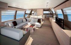 interiors of luxury yachts   ... Ferretti 720 super yacht's interior, showing the yacht's salon