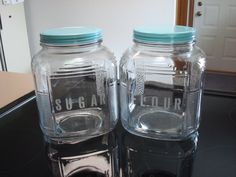Set of 2 Etched Glass Kitchen Canisters / by TrasheeShabbyAndChic