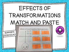 Get great hands on practice with the Describe the Effects of Transformations Match and Paste activity. Students will sort and match sets of coordinate points to a specific type of transformation including dilations, reflections, rotations, and translations.